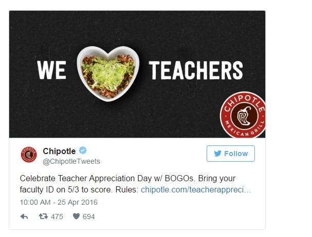 Chipotle Teacher Deal