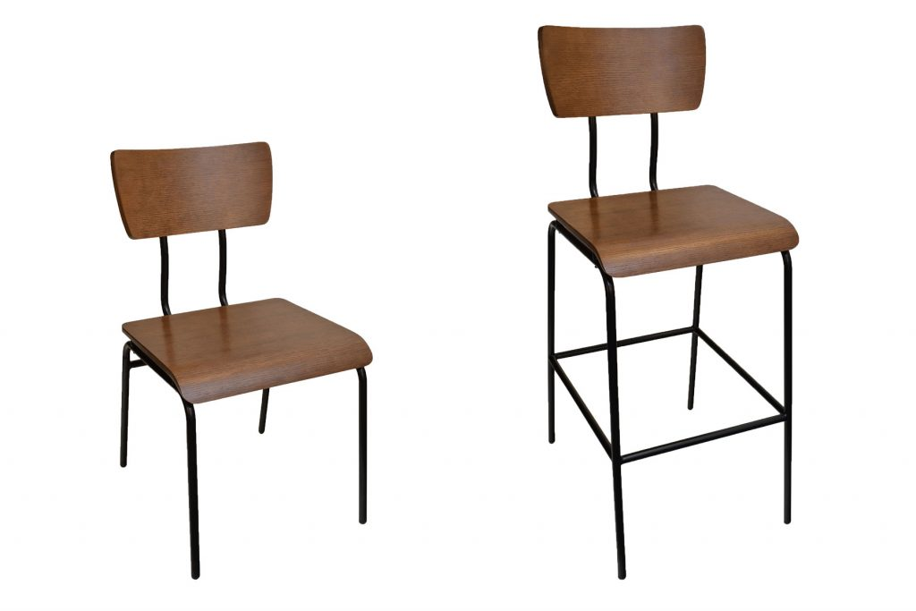 Cooper urban industrial chair and barstool