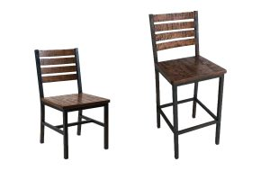 Elliot Urban Industrial Chair & Barstool with Distressed Hand-Sawn Wood Seat and Back