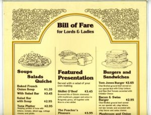 Steak and Ale Menu