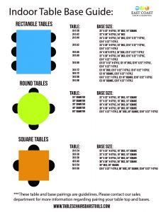 Common shapes and sizes of restaurant tables and their accompanying bases