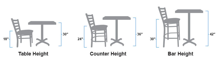 Table height chairs, counter height stools, and bar height stools