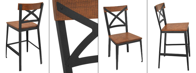 Irwin Cross Back Chair - Wood and Metal - Rustic Industrial Collection
