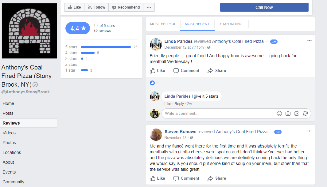Facebook Reviews Page