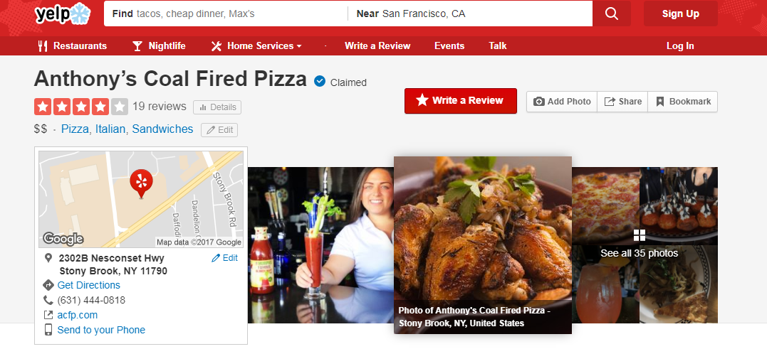 Yelp Business Page