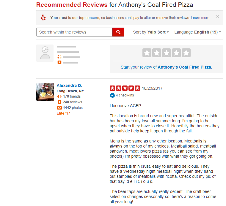 Yelp Reviews Page