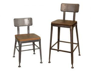 Simon Chair and Bar Stool with Wood Seats