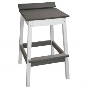 Lake Shore Backless Bar Stool in Driftwood Gray and White