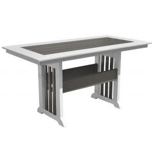 Lake Shore Table with Picket Base in Driftwood Gray and White