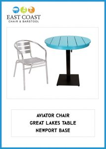 Aviator Chair, Great Lakes Table, Newport Table Base