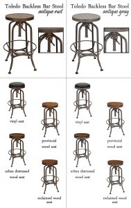 Toledo Backless Bar Stool Finishes