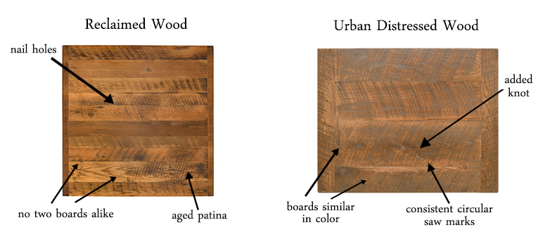 Reclaimed vs Distressed Wood Table Tops