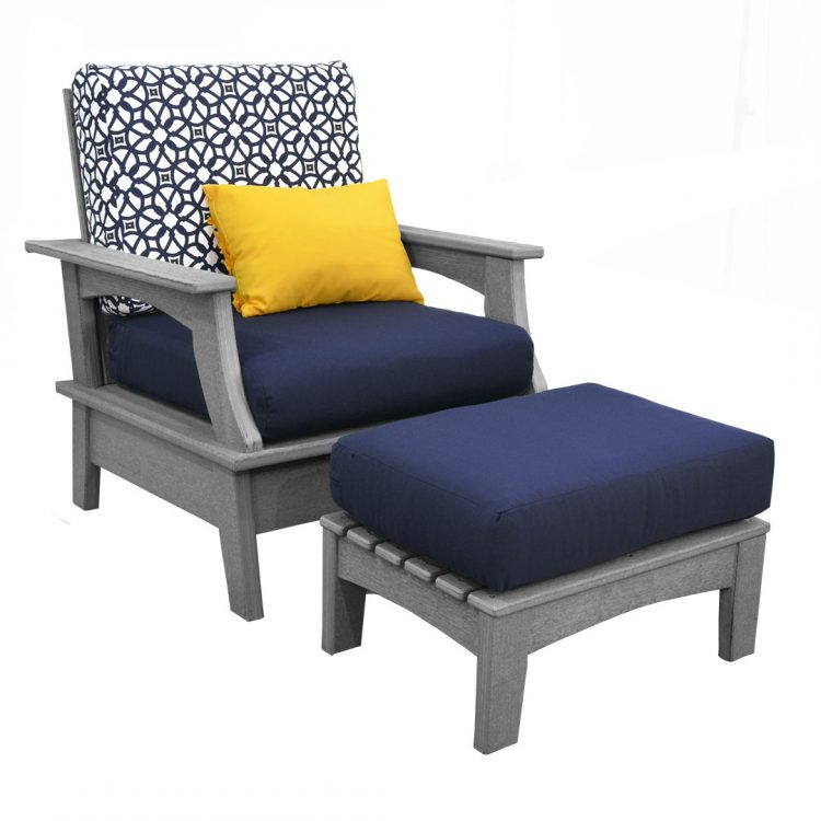 Monaco Collection Chair and Ottoman in Driftwood Gray Poly Lumber and Canvas Navy Cushions