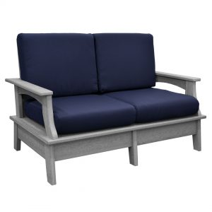 Monaco Collection Love Seat in Driftwood Gray Poly Lumber and Canvas Navy Cushions