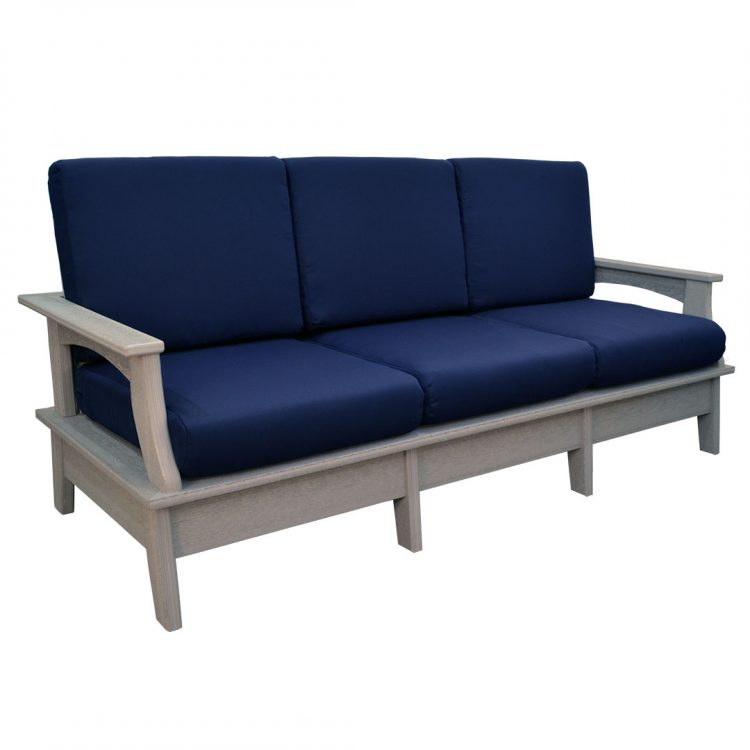 Monaco Collection Sofa in Driftwood Gray Poly Lumber and Canvas Navy Cushions