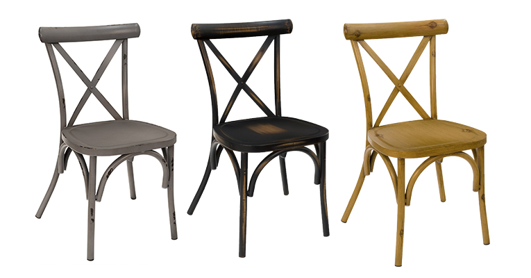 Distressed Gray, Distressed Black, and Distressed Oak Carlisle Chairs