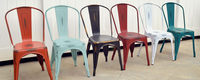 Distressed Orange, Distressed Sky Blue, Distressed Black, Distressed Kelly Red, Distressed White, and Distressed Kelly Blue Viktor Chairs