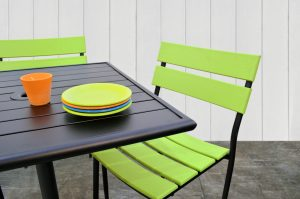 The Luca with Poly Collection in Lime Green on Patio with Table