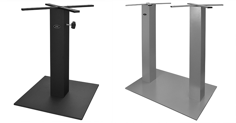 Palermo Single Table Base in Black and Palermo Bar Height Double Table Base in Silver