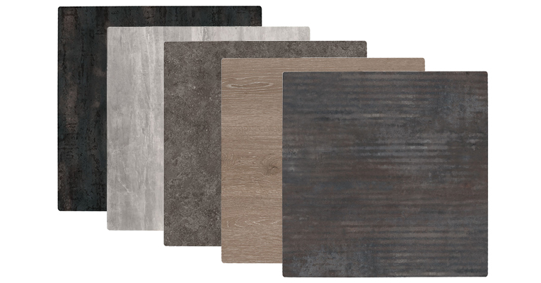 Black Steel, Cement, Dark Mica, Gray Oak, and Metal Line IsoTop Sliq Table Tops
