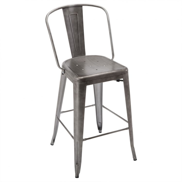 Viktor Bar Stool in Brushed Pewter