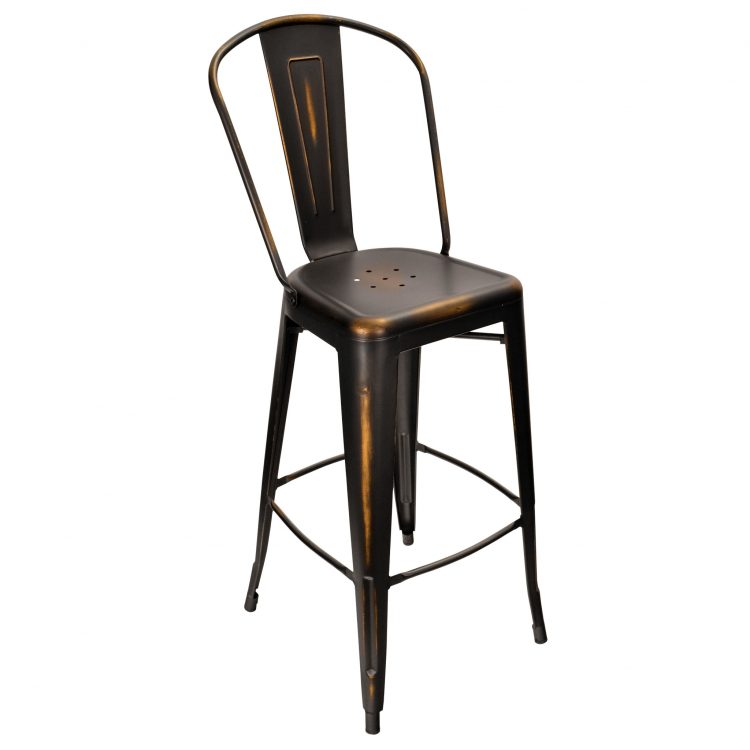 Distressed Viktor Bar Stool in Distressed Black