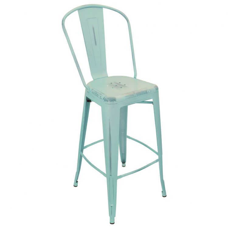 Distressed Viktor Bar Stool in Distressed Sky Blue