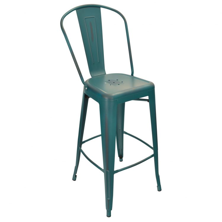 Distressed Viktor Bar Stool in Distressed Kelly Blue
