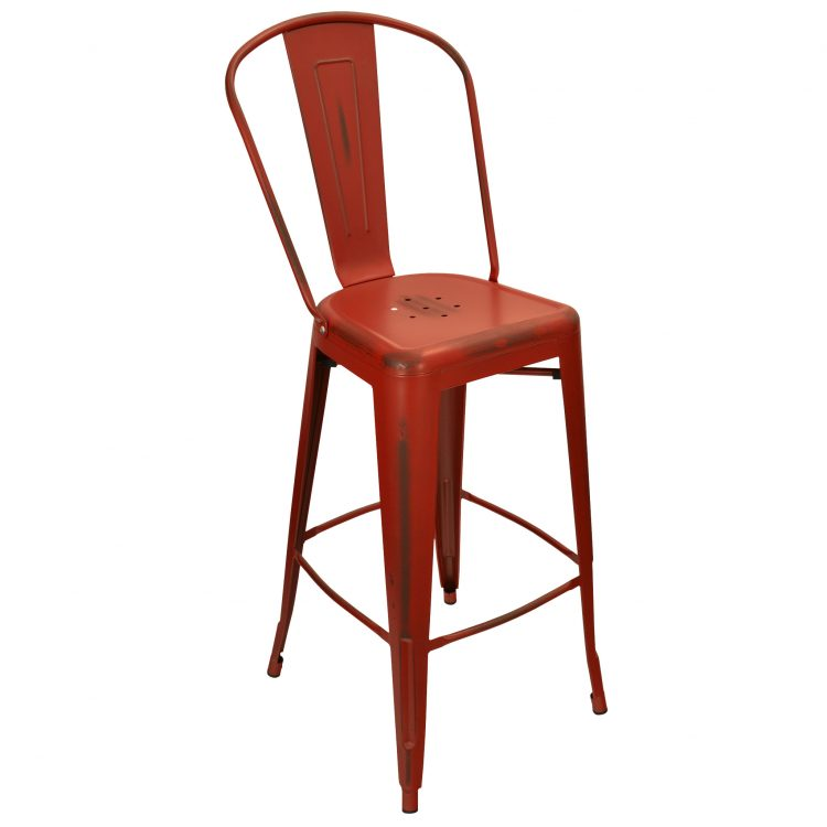 Distressed Viktor Bar Stool in Distressed Kelly Red