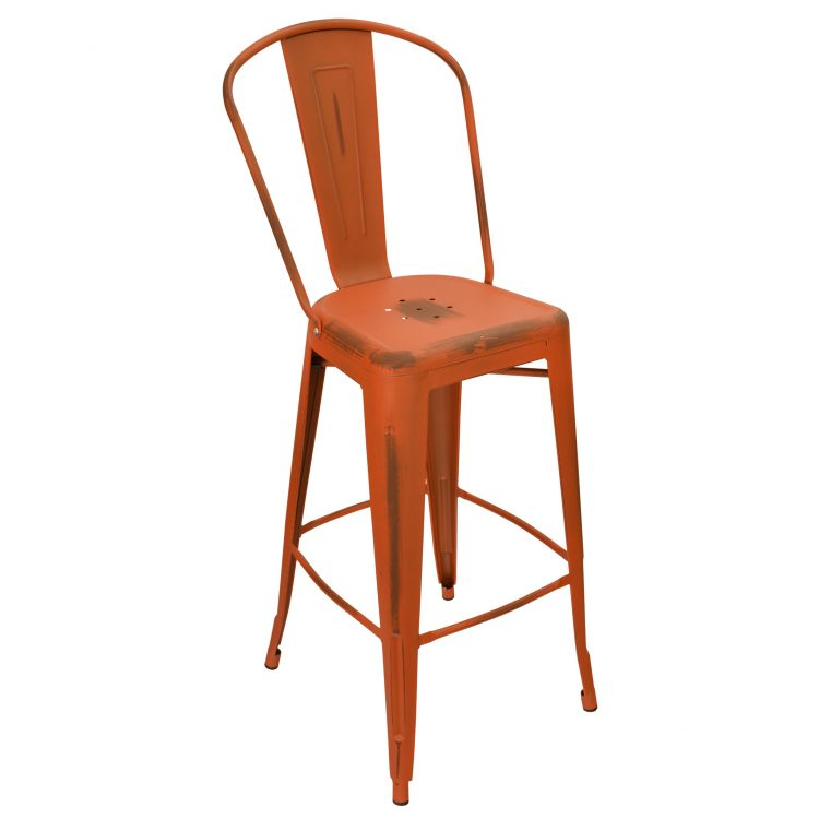 Distressed Viktor Bar Stool in Distressed Orange