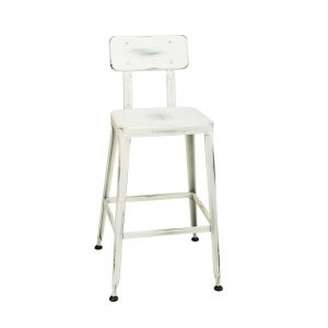 Simon Bar Stool in Distressed White